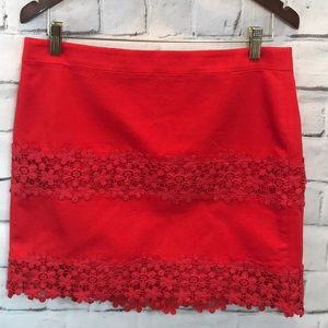 J Crew Red Daisy Lace Mini Skirt Size 8 Cotton